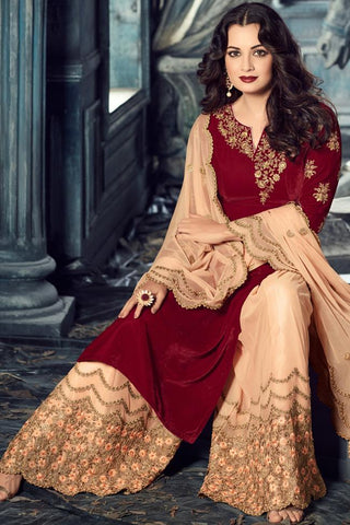 Indi Fashion Red and Peach Velvet Calf Length Sharara Suit