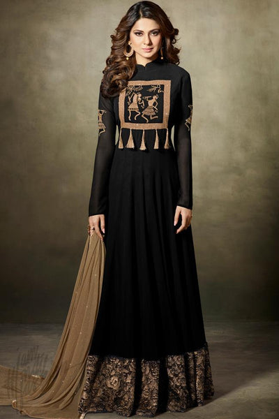Indi Fashion Black and Gold Fine Georgette Floor Length Party Wear Suit