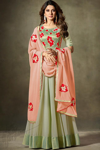 Indi Fashion Green and Peach Fine Georgette Floor Length Party Wear Suit