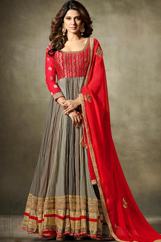 Indi Fashion Red and Gray Fine Georgette Floor Length Party Wear Suit