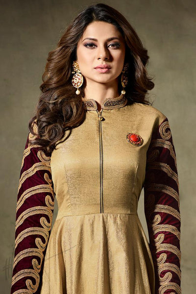 Indi Fashion Gold and Maroon Silk and Velvet Floor Length Party Wear Suit