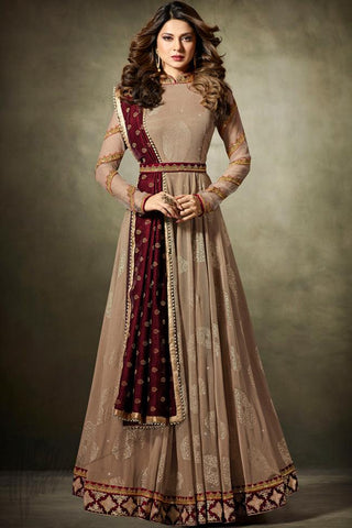 Indi Fashion Light Peach and Maroon Net Floor Length Party Wear Suit