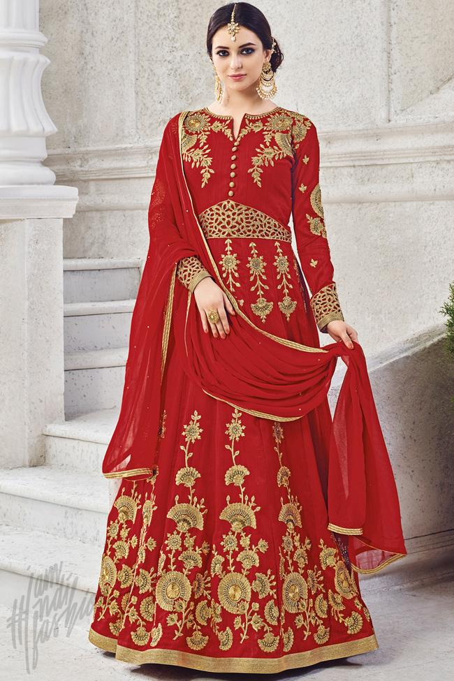 Indi Fashion Red Silk Floor Length Party Wear Suit