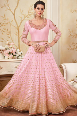 Indi Fashion Baby Pink Silk Party Wear Floor Length Suit