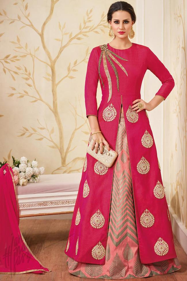 Indi Fashion Magenta and Pink Silk Lehenga Style Suit