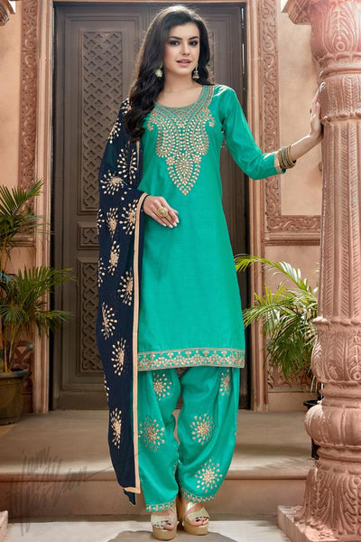 Indi Fashion Sea Green and Blue Chanderi Gotta Patti Patiala Suit