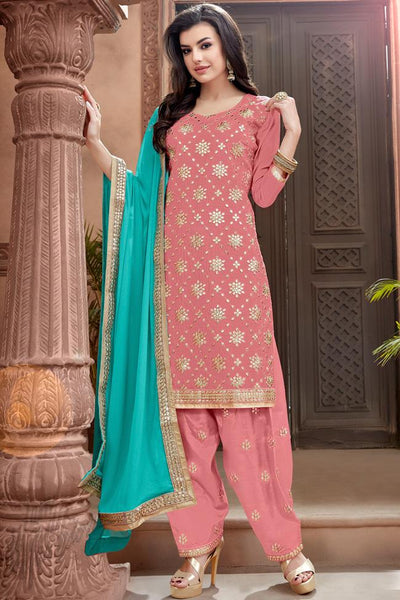Indi Fashion Pink and Sky Blue Chanderi Gotta Patti Patiala Suit