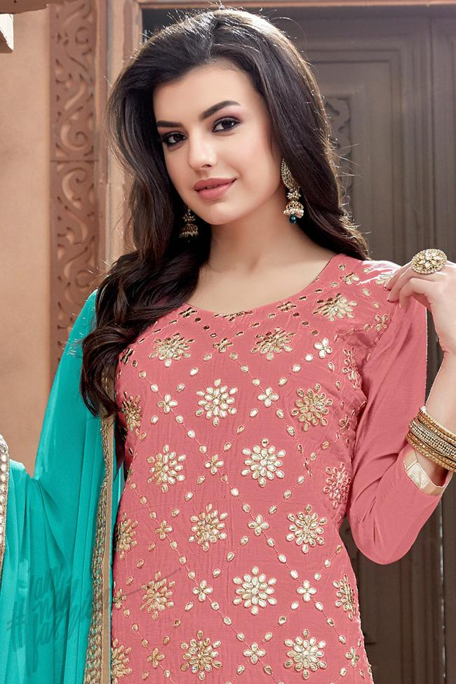 a4852aadd1 Pink and Sky Blue Chanderi Gotta Patti Patiala Suit - indi.fashion