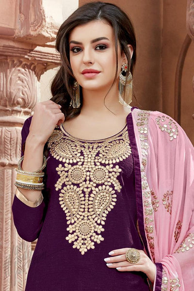 Indi Fashion Purple and Onion Pink Chanderi Gotta Patti Patiala Suit