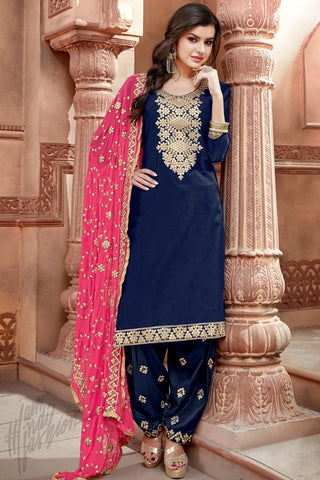 Indi Fashion Navy Blue and Magenta Chanderi Gotta Patti Patiala Suit