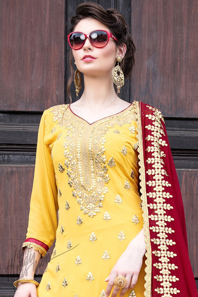 Indi Fashion Yellow Georgette Party Wear Sharara Suit