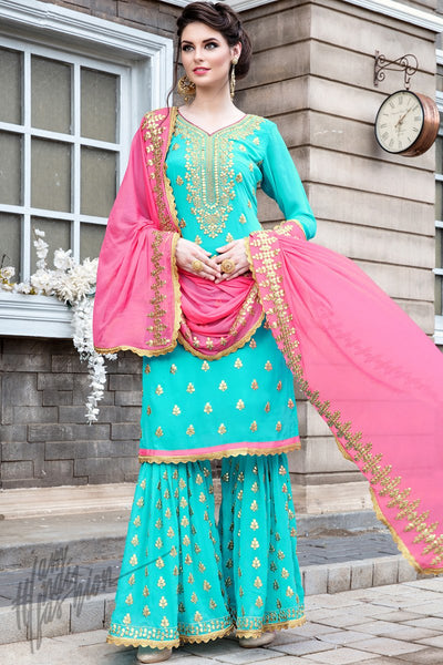 Indi Fashion Sky Blue Georgette Party Wear Sharara Suit