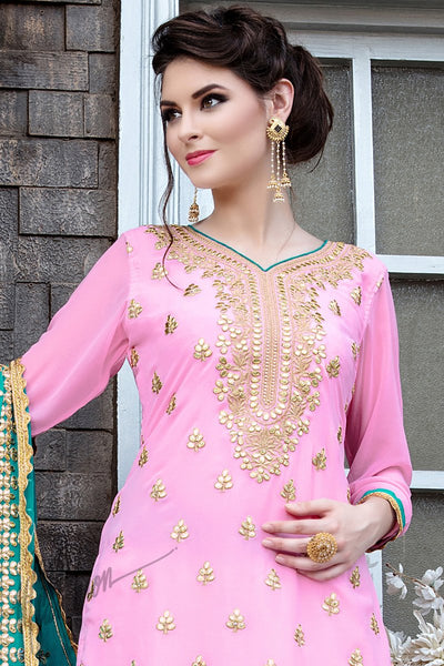Indi Fashion Pink Georgette Party Wear Sharara Suit