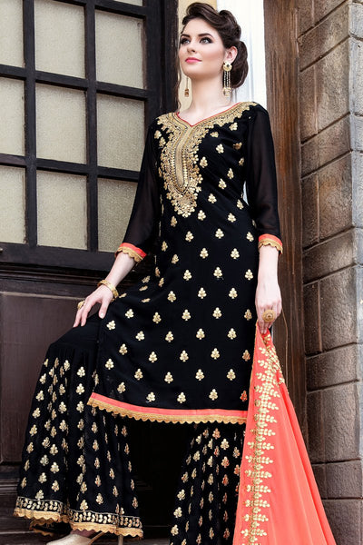 Indi Fashion Black Georgette Party Wear Sharara Suit