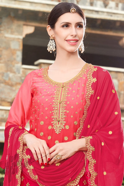 Indi Fashion Pink and Red Ombre Rangoli Crepe Patiala Salwar Suit