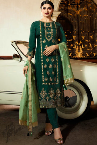 Green Silk Straight Suit