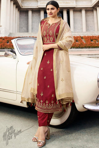 Red and Cream Silk Straight Suit