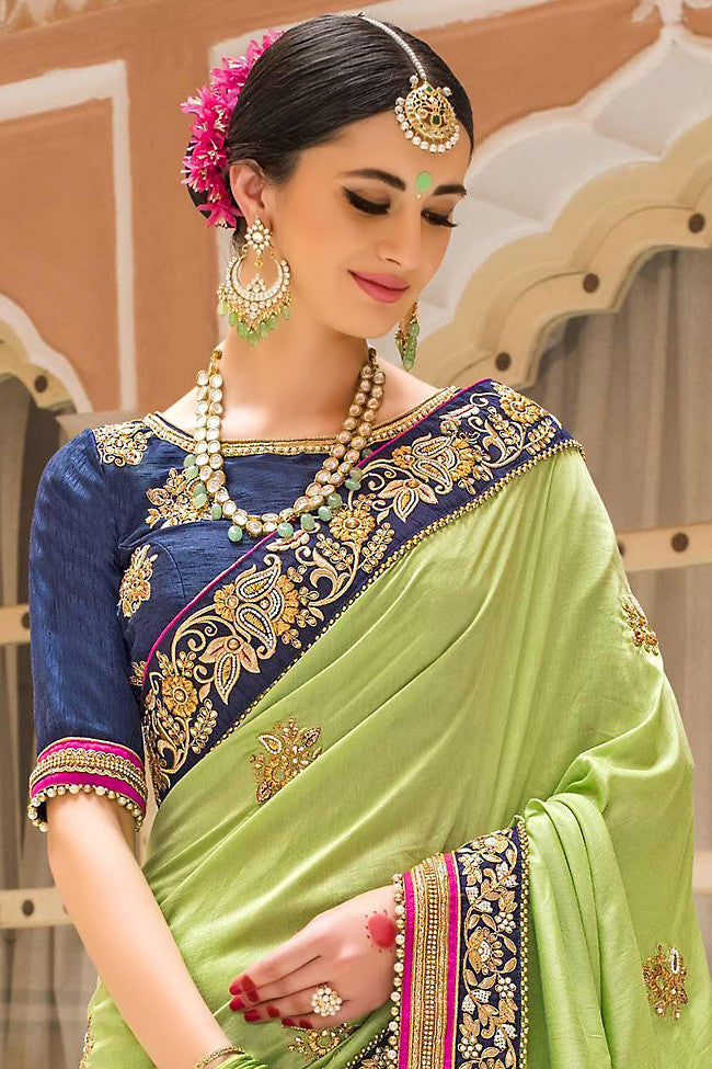 Buy Green and Blue Pure Moonga Silk Saree Online at indi.fashion