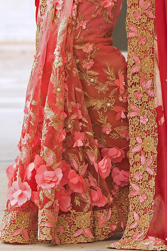Buy Pink Half and Half Silk and Net Saree Online at indi.fashion