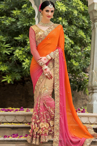 Indi Fashion Orange Beige and Pink Silk and Net Saree