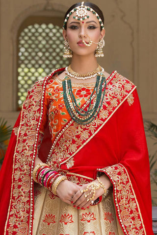 Indi Fashion Beige Orange and Red Pure Banarasi Silk Wedding Lehenga Set