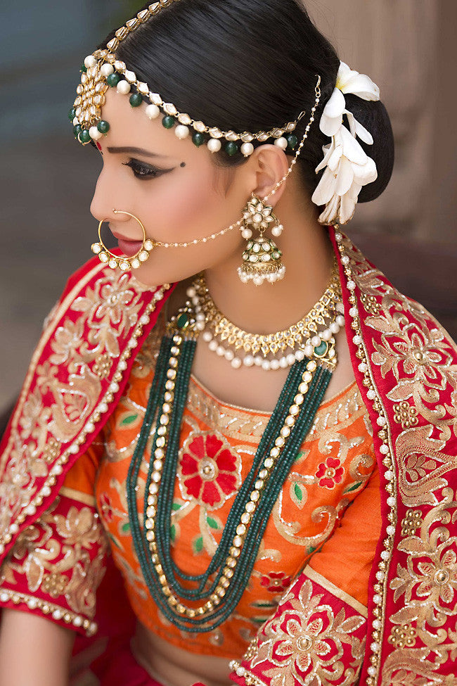 Buy Beige Orange and Red Pure Banarasi Silk Wedding Lehenga Set Online at indi.fashion