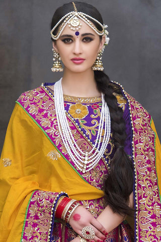 Indi Fashion Purple and Yellow Pure Banarasi Silk Wedding Lehenga Set