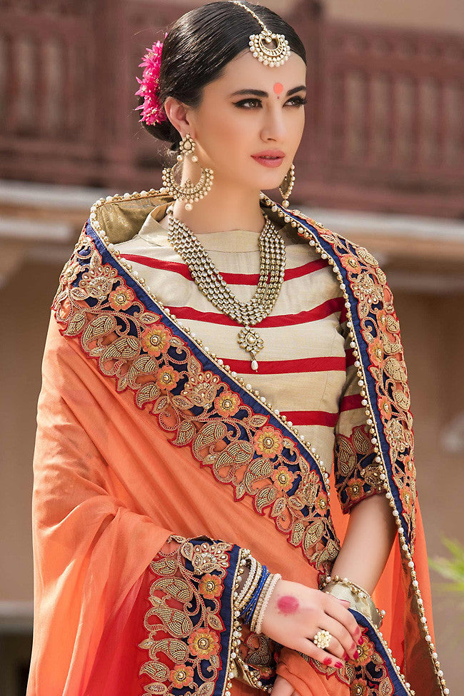 Buy Peach and Red Pure Moonga Silk Saree Online at indi.fashion