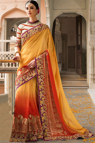 Indi Fashion Yellow and Red Pure Moonga Silk Saree