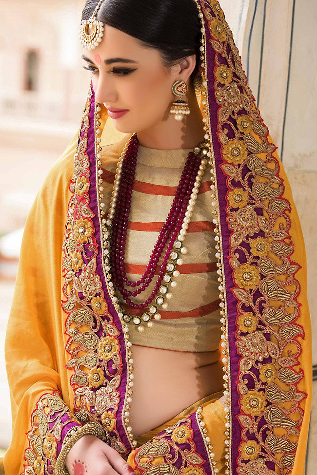 Buy Yellow and Red Pure Moonga Silk Saree Online at indi.fashion