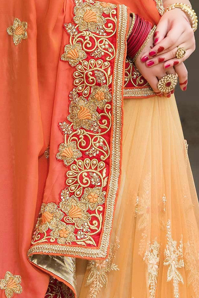 Indi Fashion Orange and Mustard Pure Silk and Net Saree