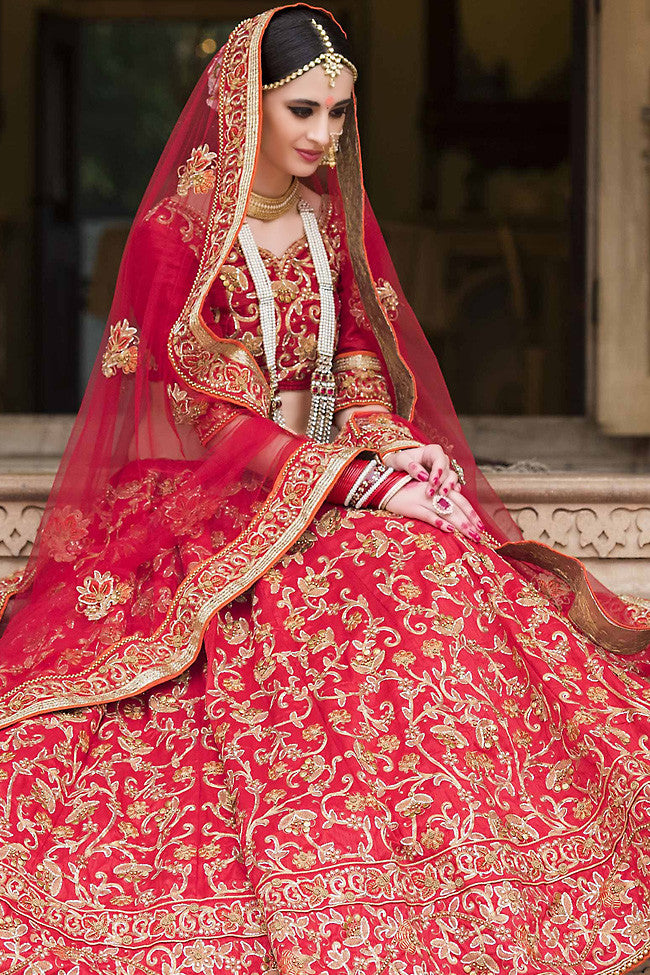 Buy Red and Gold Bangalori Silk Wedding Lehenga Set Online at indi.fashion
