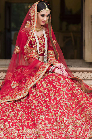 Indi Fashion Red and Gold Bangalori Silk Wedding Lehenga Set