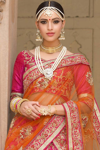 Indi Fashion Pink and Orange Bangalori Silk Wedding Lehenga Set