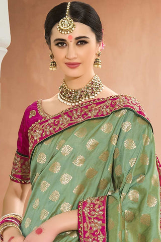 Indi Fashion Pink and Green Half and Half Jacquard Saree