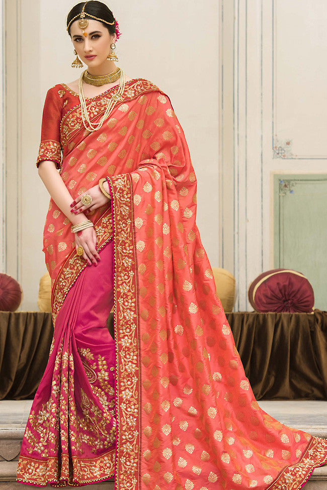 Indi Fashion Pink and Peach Half and Half Jacquard Saree