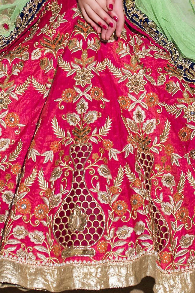Indi Fashion Pink and Green Bangalori Silk Wedding Lehenga Set