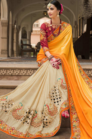 Indi Fashion Yellow Beige and Red Half and Half Silk Saree