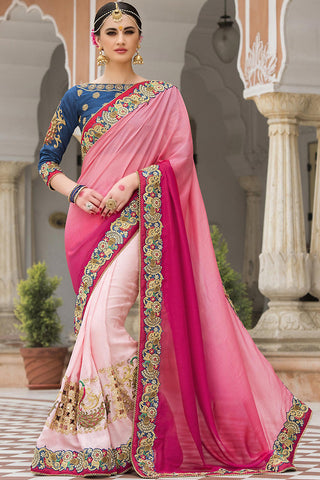 Indi Fashion Shaded Pink and Blue Half and Half Silk Saree