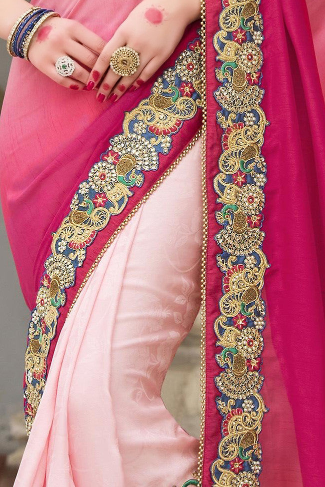 Buy Shaded Pink and Blue Half and Half Silk Saree Online at indi.fashion