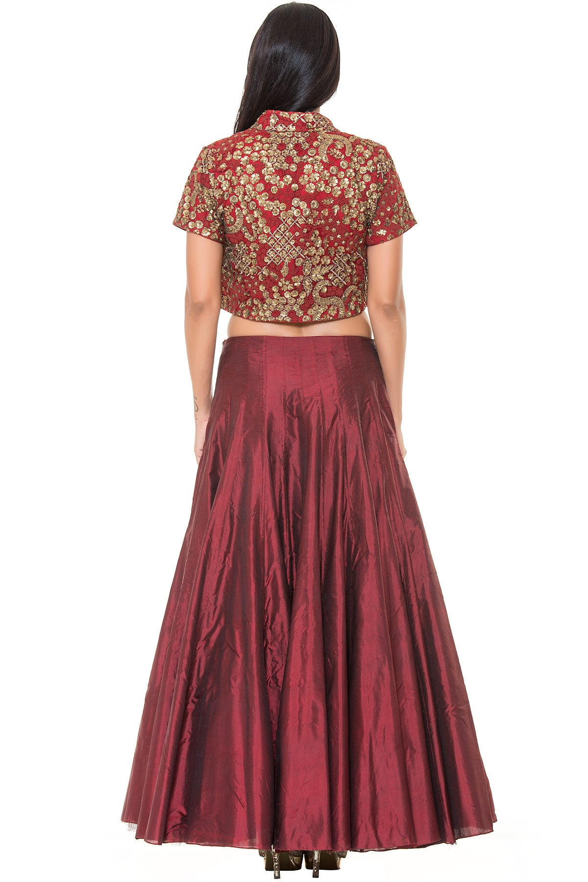 Buy Maroon Skirt With Golden Crop top and Red Embroidered Jacket Online at indi.fashion