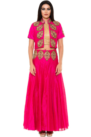 Buy Fuchsia Skirt With Golden Crop top and Fuchsia Embroidered Jacket Online at indi.fashion