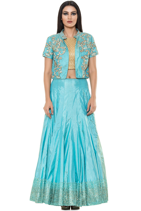 Indi Fashion Blue Skirt With Golden Crop top and Blue Embroidered Jacket
