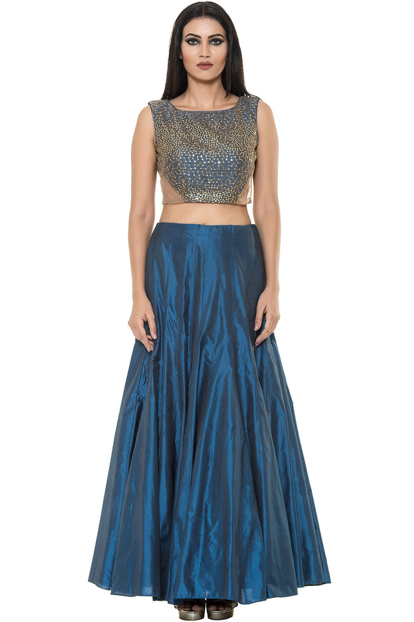 Indi Fashion Teal Blue Skirt With Matching Crop top With Embroidery