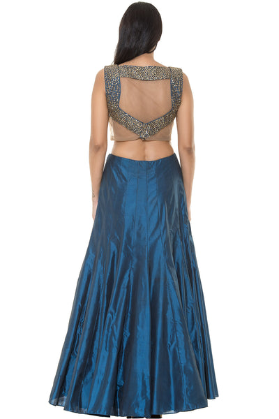 Buy Teal Blue Skirt With Matching Crop top With Embroidery Online at indi.fashion