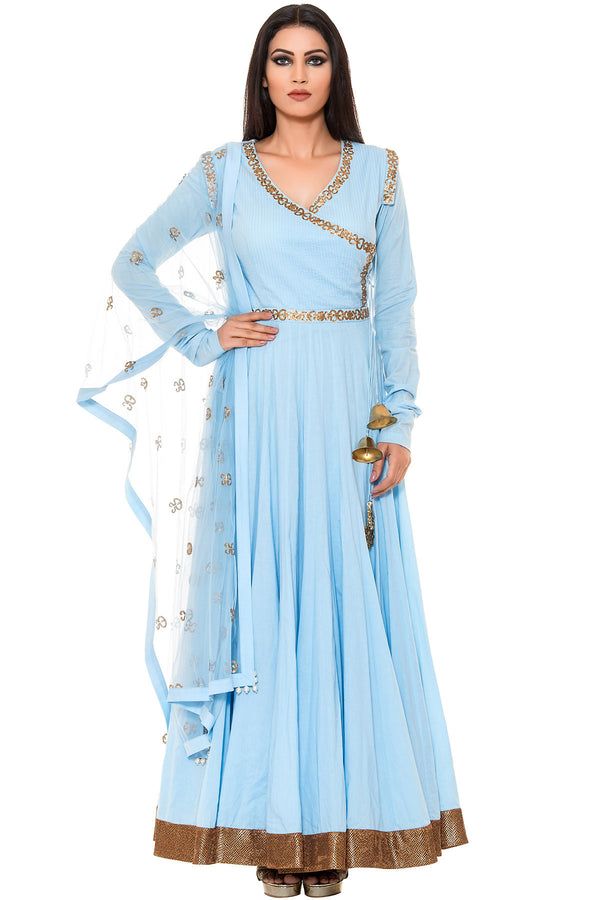 Indi Fashion Blue Floor Length Suit With Golden Embroidery and Bell Tassels