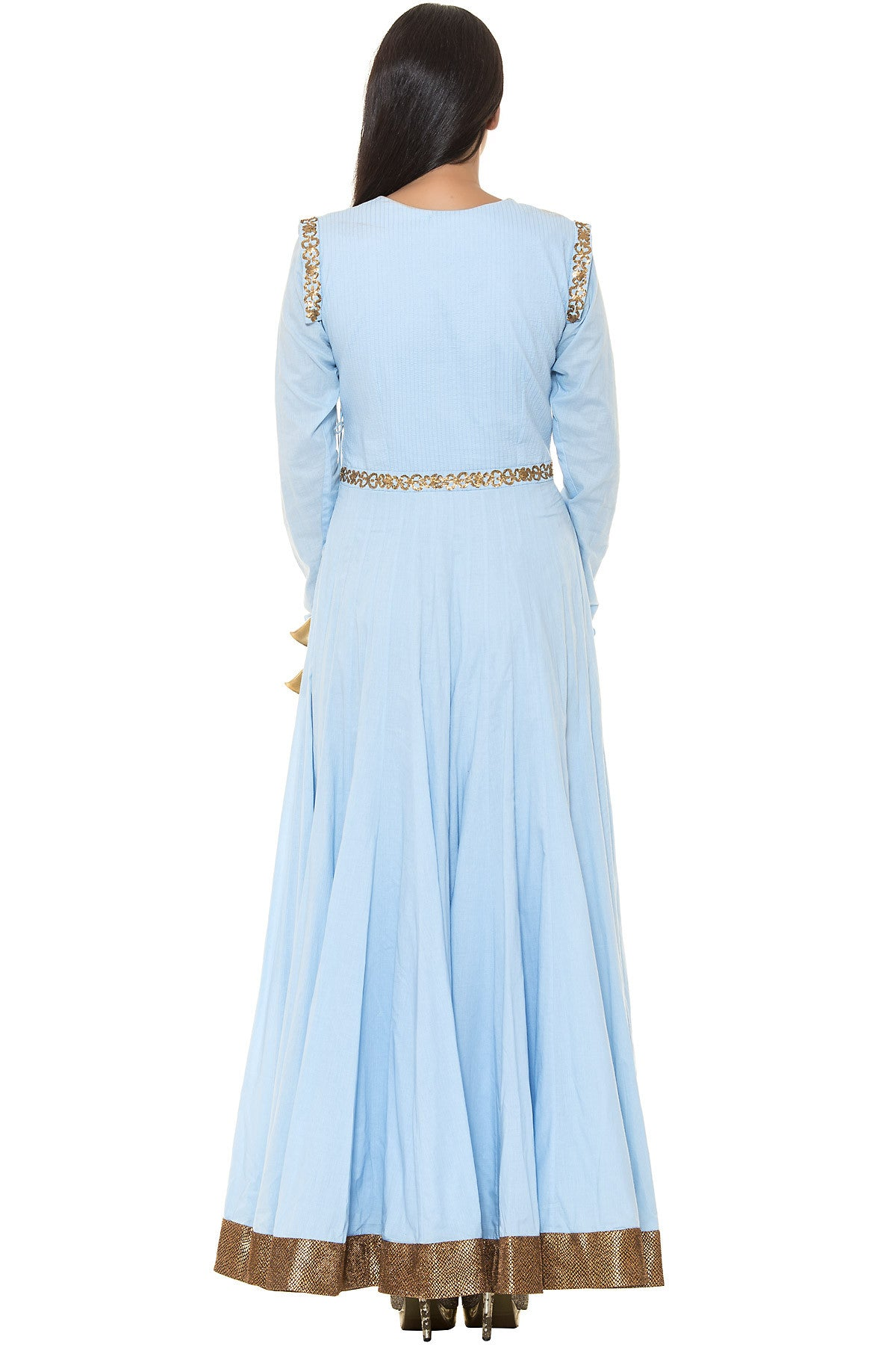 Buy Blue Floor Length Suit With Golden Embroidery and Bell Tassels Online at indi.fashion