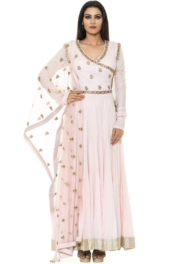 Indi Fashion Pink Floor Length Suit With Golden Embroidery and Bell Tassels
