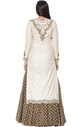 Indi Fashion Copper Brocade Lehenga With Ivory Embroidered Jacket