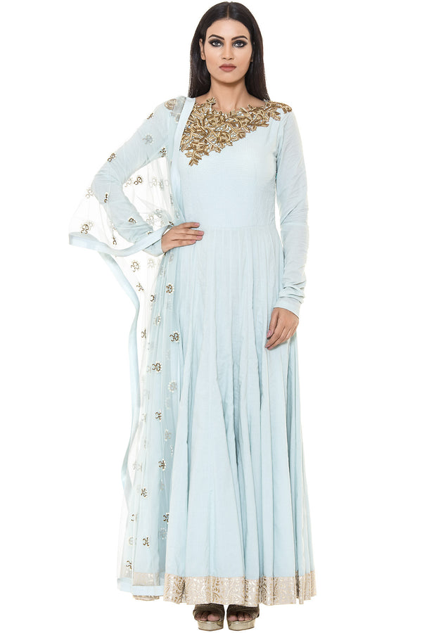 Indi Fashion Blue Floor Length Suit With Golden Floral Embroidery on Neck